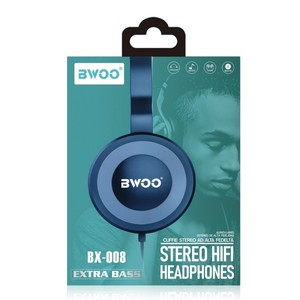 Auricular Diadema Con Microfono BWOO BX-008 Azul