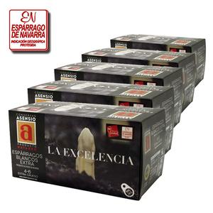 """Lote de 5 Latas de Espárragos Blancos D.O. Navarra Calidad Extra 4 - 6 Frutos 780 g. Calibre Extra Grueso """"LA EXCELENCIA"""""""