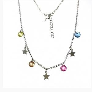 Gargantilla de plata con estrellas y  piedras de color.  PL289P