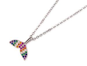 Gargantilla con colgante de plata rodiada con circonitas multicolor. PL415P