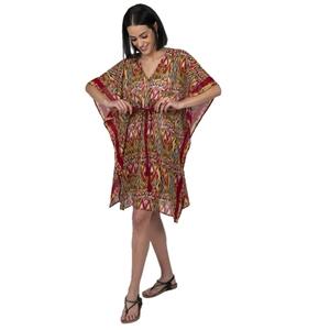 Vestido túnica de playa corta en georgette en estampado étnico bright con borde en rayas verticales. RO421R