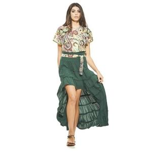 Falda larga verde de algodon con corte asimatrico.  RO427V