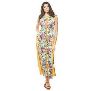 Vestido largo con cuello redondo con tirantes anchos y bolsillos, Con estampado de grandes flores ocres, sobre un fondo turquesa. RO428T