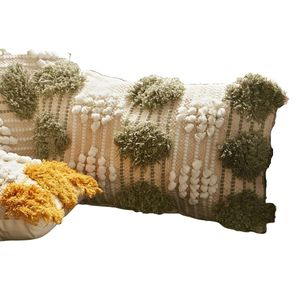 Cojín crochet cenefe verde 30x50 cm