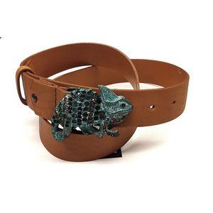 Cinturón marrón hebilla camaleón