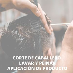 Corte de caballero + lavar y peinar + aplicación de producto