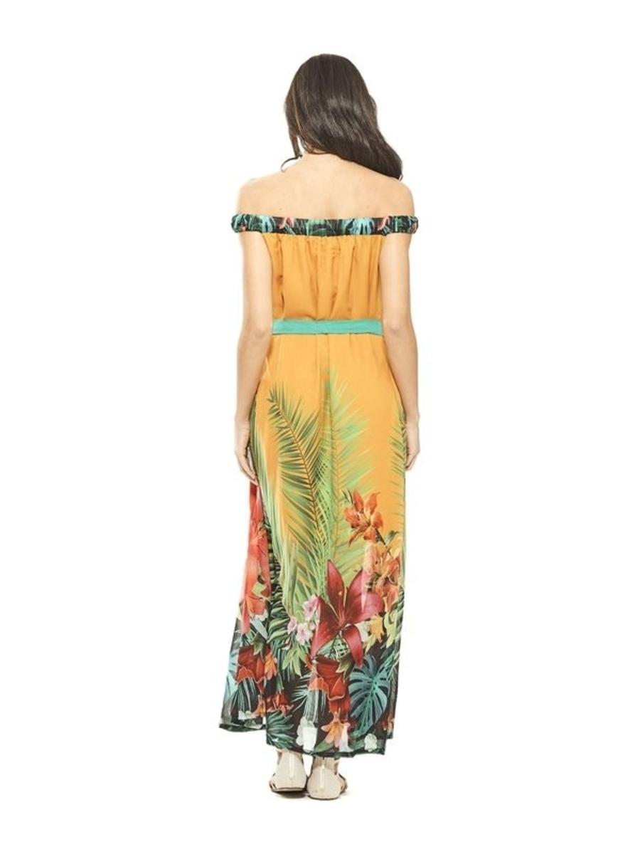 Vestido largo con estampado tropical color mostaza. RO434M