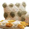Cojín crochet cenefa verde 45x45 cm